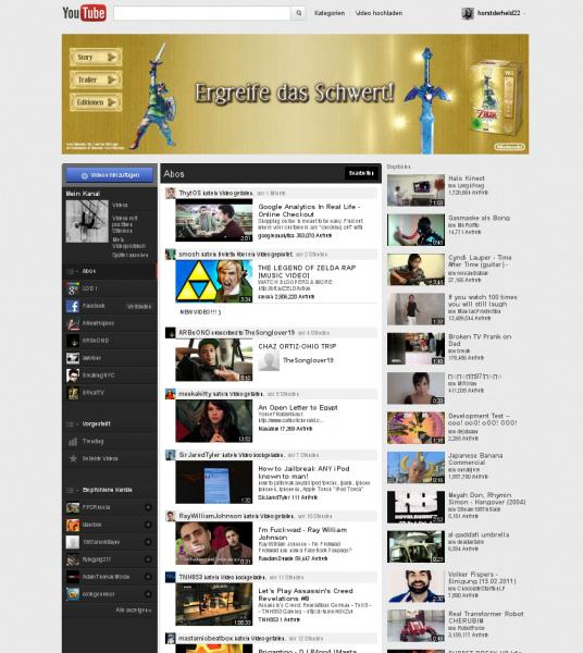 Layout der neuen Youtube Startseite